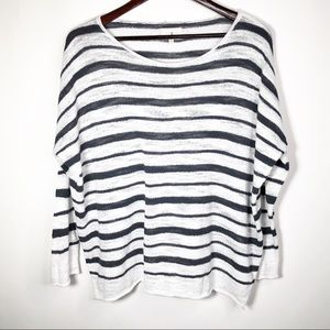 Lou & Gray Striped Sweater Navy White Medium